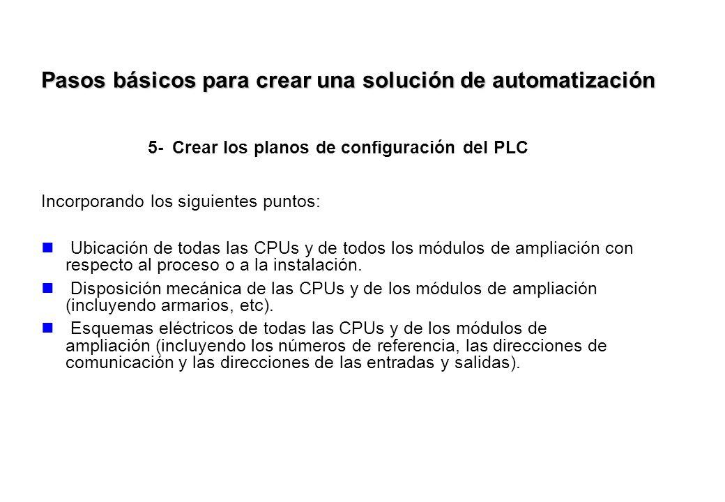 5-Crear los planos de configuración del PLC Incorporando los siguientes puntos: Ubicación de todas las CPUs y de todos los módulos de ampliación con r