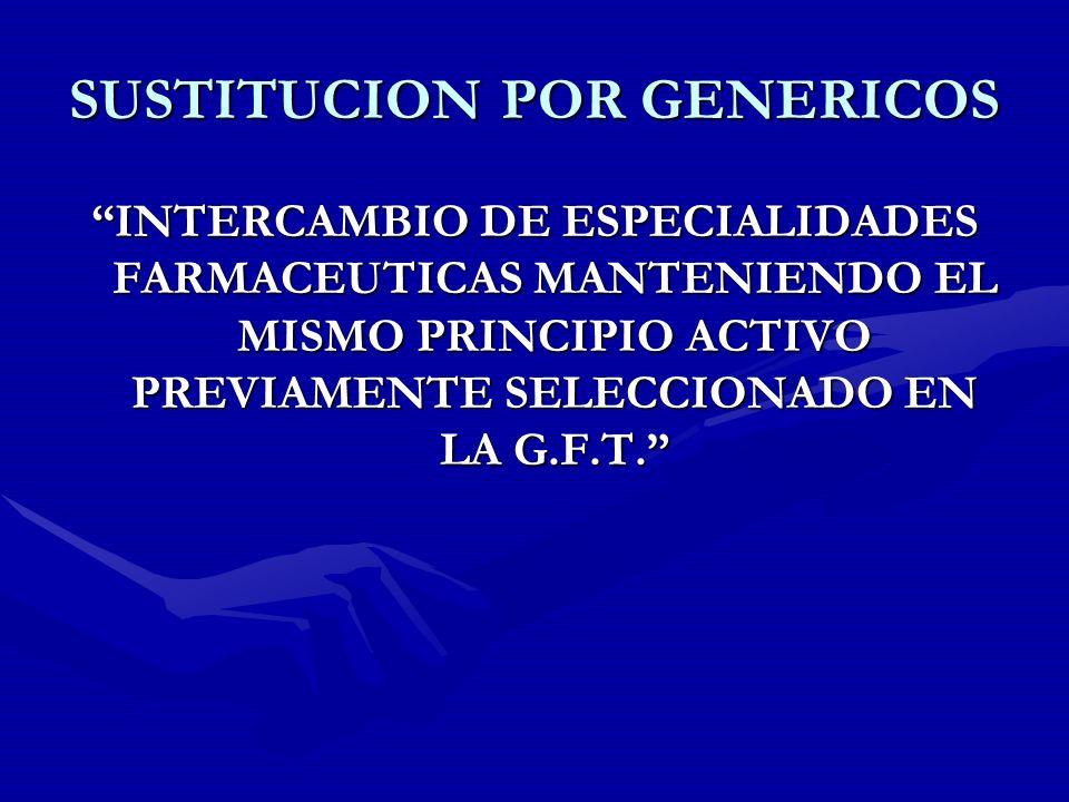SUSTITUCION POR GENERICOS INTERCAMBIO DE ESPECIALIDADES FARMACEUTICAS MANTENIENDO EL MISMO PRINCIPIO ACTIVO PREVIAMENTE SELECCIONADO EN LA G.F.T.