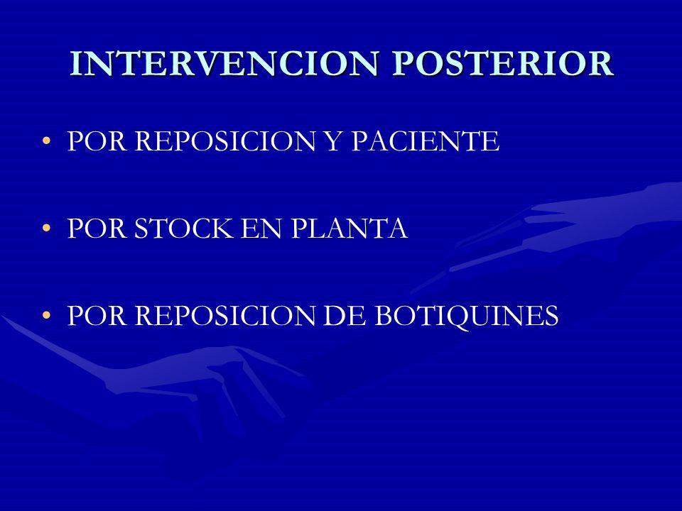 INTERVENCION POSTERIOR POR REPOSICION Y PACIENTE POR STOCK EN PLANTA POR REPOSICION DE BOTIQUINES