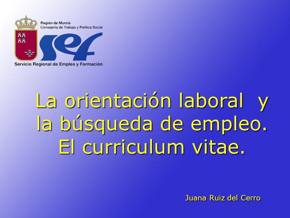 La orientación laboral y la búsqueda de empleo. El curriculum vitae. Juana Ruiz del Cerro