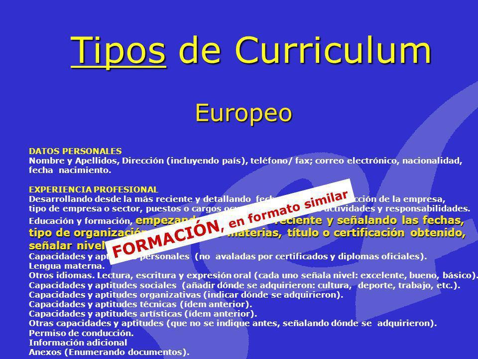 Tipos de Curriculum Europeo DATOS PERSONALES Nombre y Apellidos, Dirección (incluyendo país), teléfono/ fax; correo electrónico, nacionalidad, fecha n