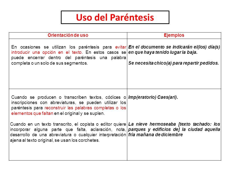 Uso del Paréntesis Orientación de usoEjemplos En ocasiones se utilizan los paréntesis para evitar introducir una opción en el texto. En estos casos se