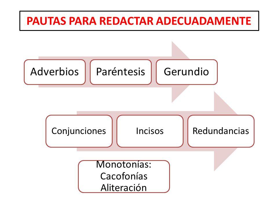 PAUTAS PARA REDACTAR ADECUADAMENTE AdverbiosParéntesisGerundio ConjuncionesIncisosRedundancias Monotonías: Cacofonías Aliteración