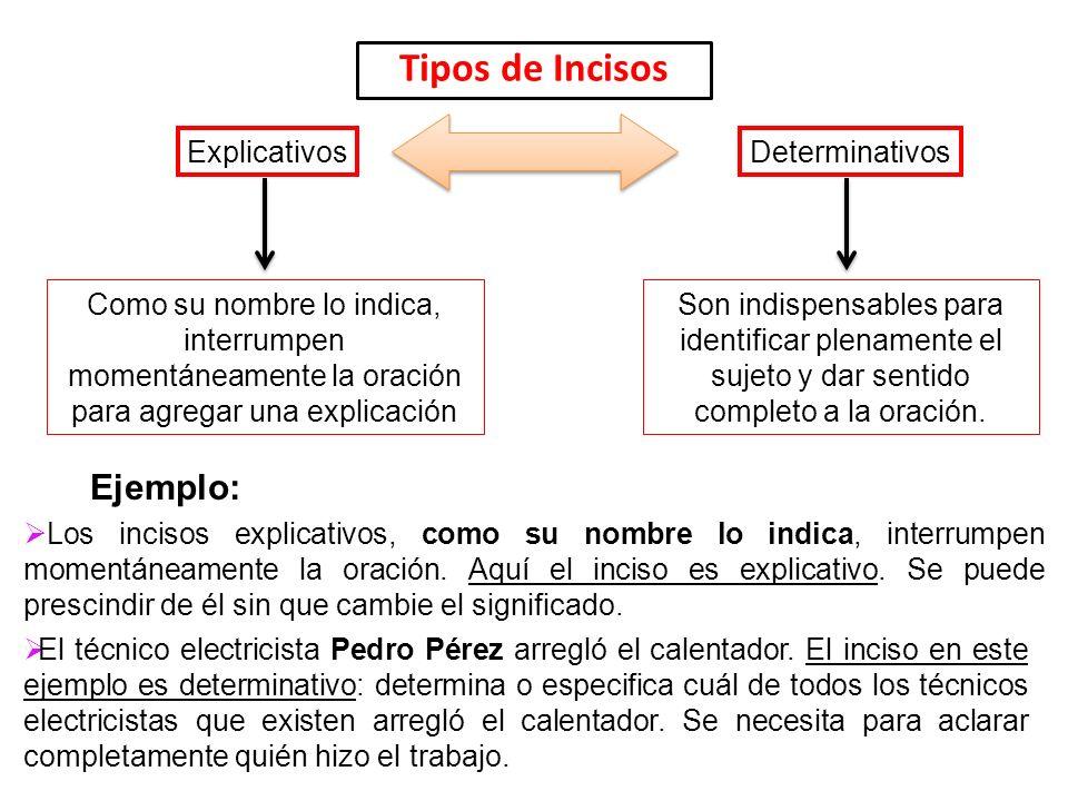 Tipos de Incisos ExplicativosDeterminativos Como su nombre lo indica, interrumpen momentáneamente la oración para agregar una explicación Ejemplo: Los