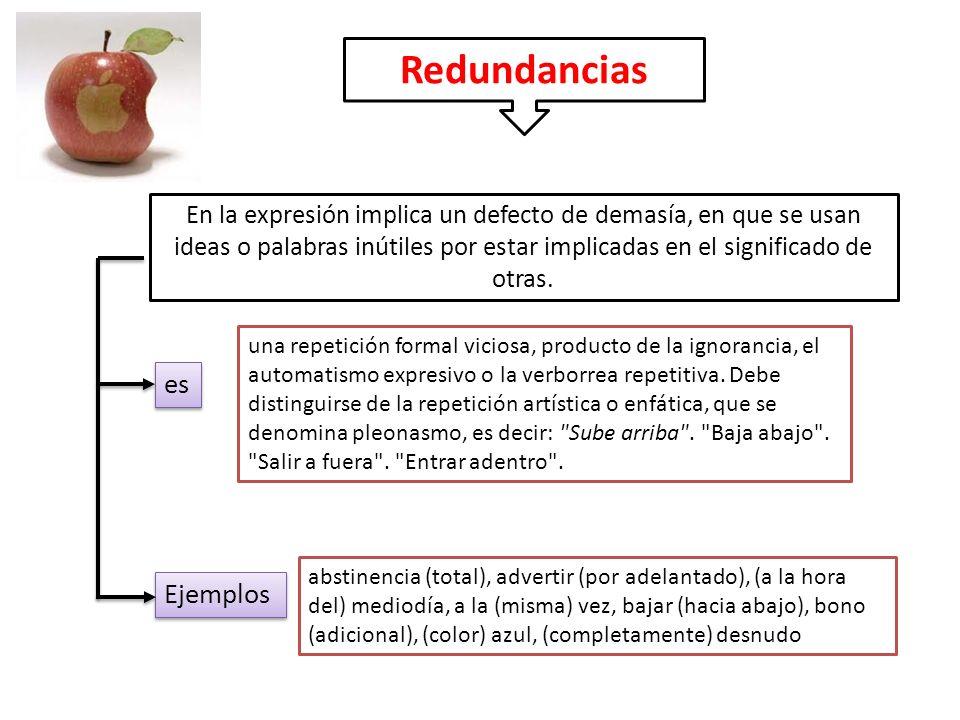 Redundancias En la expresión implica un defecto de demasía, en que se usan ideas o palabras inútiles por estar implicadas en el significado de otras.