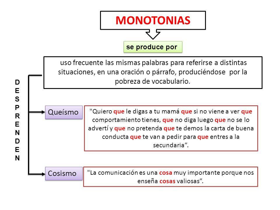 MONOTONIAS se produce por: uso frecuente las mismas palabras para referirse a distintas situaciones, en una oración o párrafo, produciéndose por la po