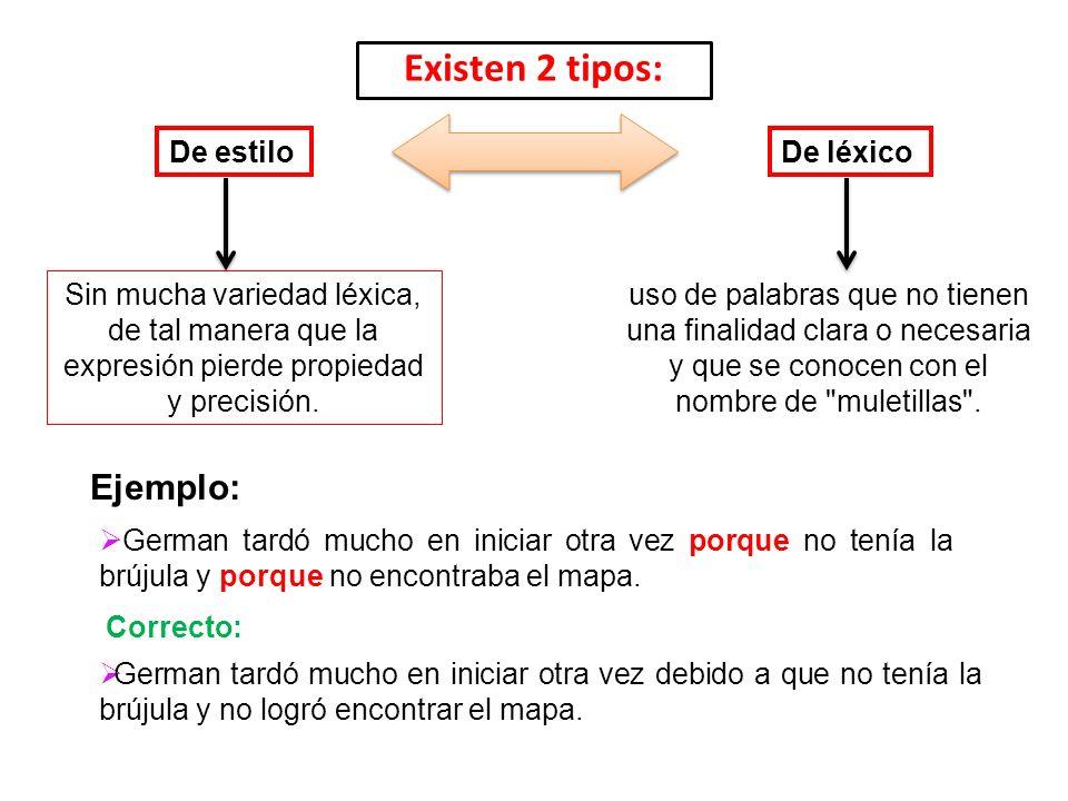 Existen 2 tipos: De estiloDe léxico Sin mucha variedad léxica, de tal manera que la expresión pierde propiedad y precisión. uso de palabras que no tie