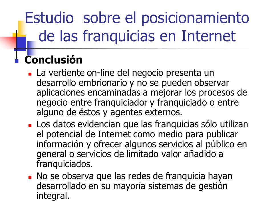 Estudio sobre el posicionamiento de las franquicias en Internet Conclusión La vertiente on-line del negocio presenta un desarrollo embrionario y no se