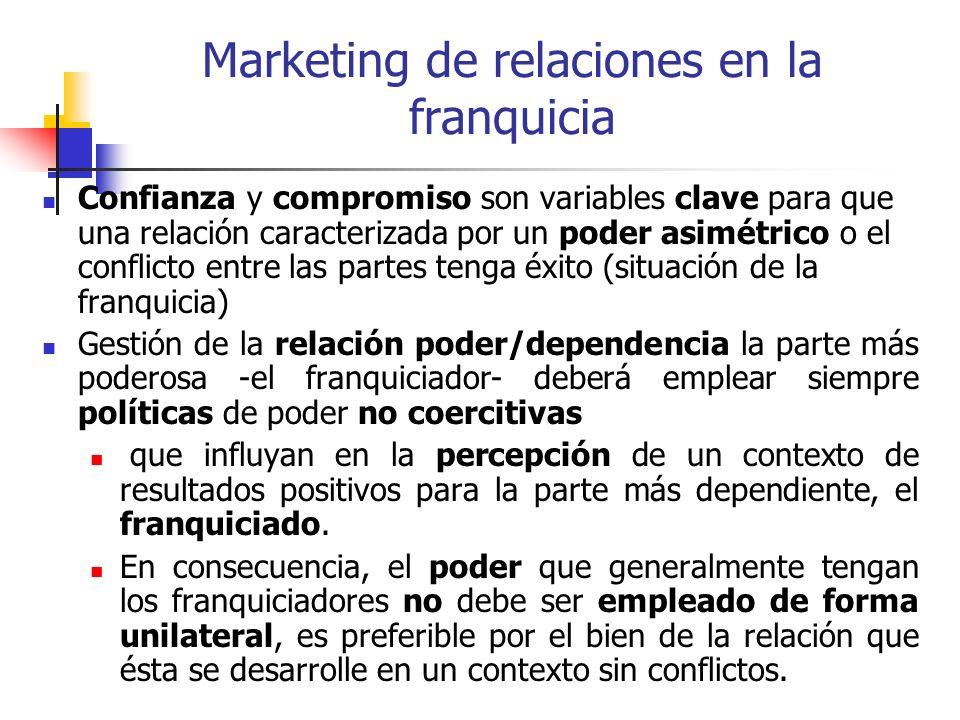 Marketing de relaciones en la franquicia Confianza y compromiso son variables clave para que una relación caracterizada por un poder asimétrico o el c