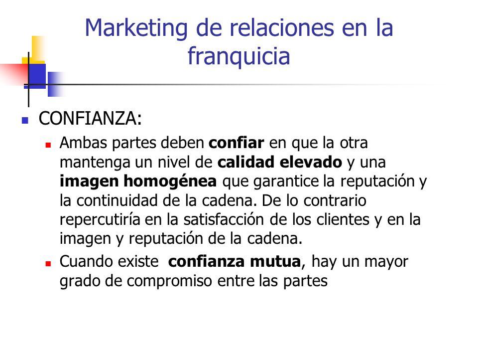 Marketing de relaciones en la franquicia CONFIANZA: Ambas partes deben confiar en que la otra mantenga un nivel de calidad elevado y una imagen homogé