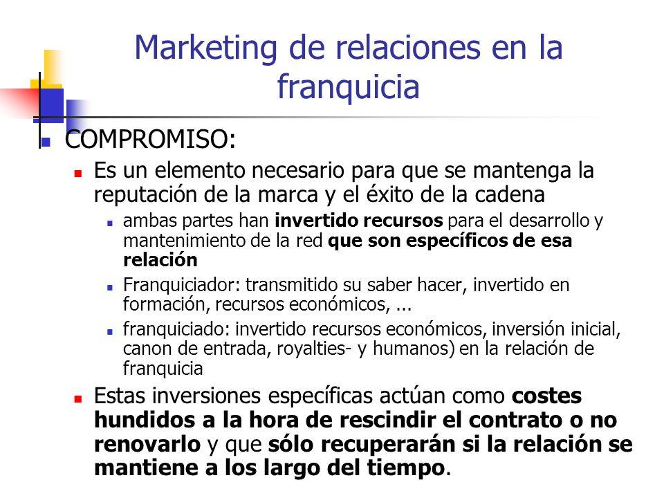 Marketing de relaciones en la franquicia COMPROMISO: Es un elemento necesario para que se mantenga la reputación de la marca y el éxito de la cadena a