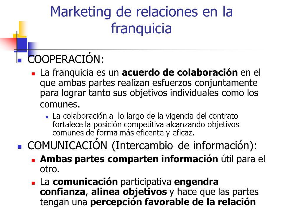 Marketing de relaciones en la franquicia COOPERACIÓN: La franquicia es un acuerdo de colaboración en el que ambas partes realizan esfuerzos conjuntame