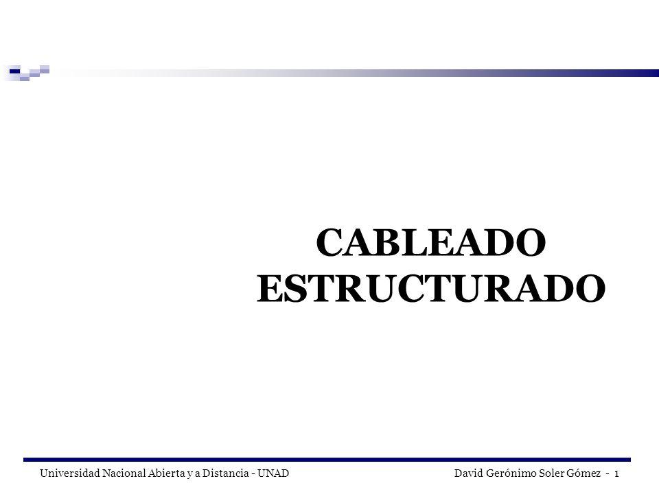 Universidad Nacional Abierta y a Distancia - UNAD David Gerónimo Soler Gómez - 2 NORMAS Y ESTANDARES DE CABLEADO ESTRUCTURADO Modelo OSI.