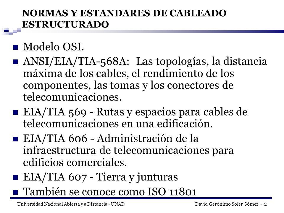 Universidad Nacional Abierta y a Distancia - UNAD David Gerónimo Soler Gómez - 33 MDF (Main Distribute Facilitie ) e IDF (Intermediate Distribute Facilite) Cuando son redes de datos de gran tamaño por lo general se requieren de varios cuartos de telecomunicaciones, Cuando se presenta este fenómeno uno de los centros de cableado se escoge como MDF (Servicio de distribución Principal)y los demás se rotulan con el titulo de IDFs (Servicio de Distribución Intermediario).