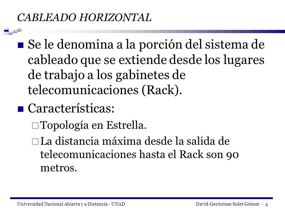 Universidad Nacional Abierta y a Distancia - UNAD David Gerónimo Soler Gómez - 5 SUBSISTEMAS DE CABLEADO ESTRUCTURADO C.