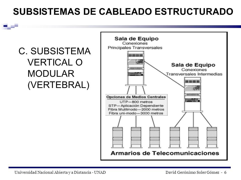Universidad Nacional Abierta y a Distancia - UNAD David Gerónimo Soler Gómez - 27 Área de Trabajo El Área de Trabajo extiende desde la salida de telecomunicaciones (OT) hasta la estación de trabajo.