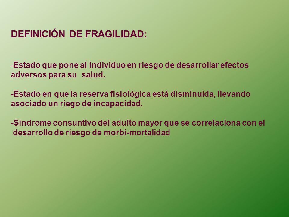 FACTORES DETERMINANTES DE FRAGILIDAD: MAYOR DE 75-80 AÑOS.