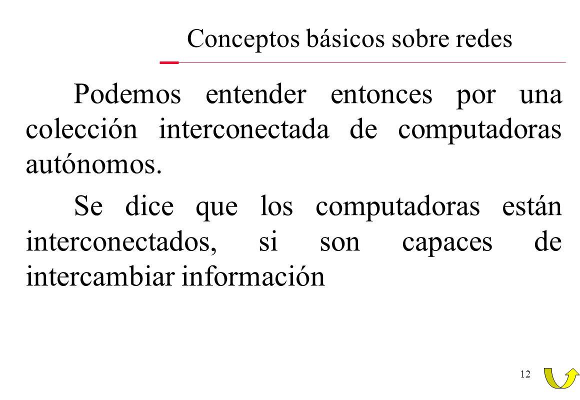 12 Conceptos básicos sobre redes Podemos entender entonces por una colección interconectada de computadoras autónomos. Se dice que los computadoras es