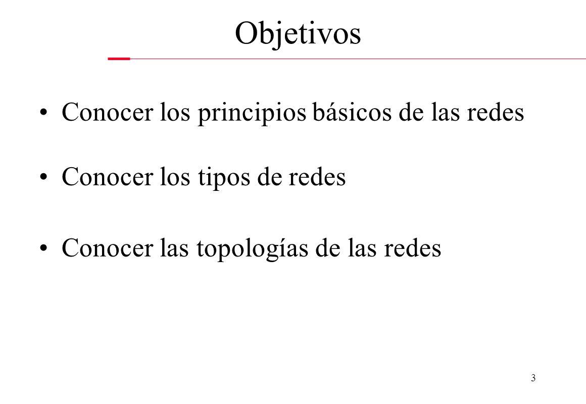 3 Conocer los principios básicos de las redes Conocer los tipos de redes Conocer las topologías de las redes Objetivos