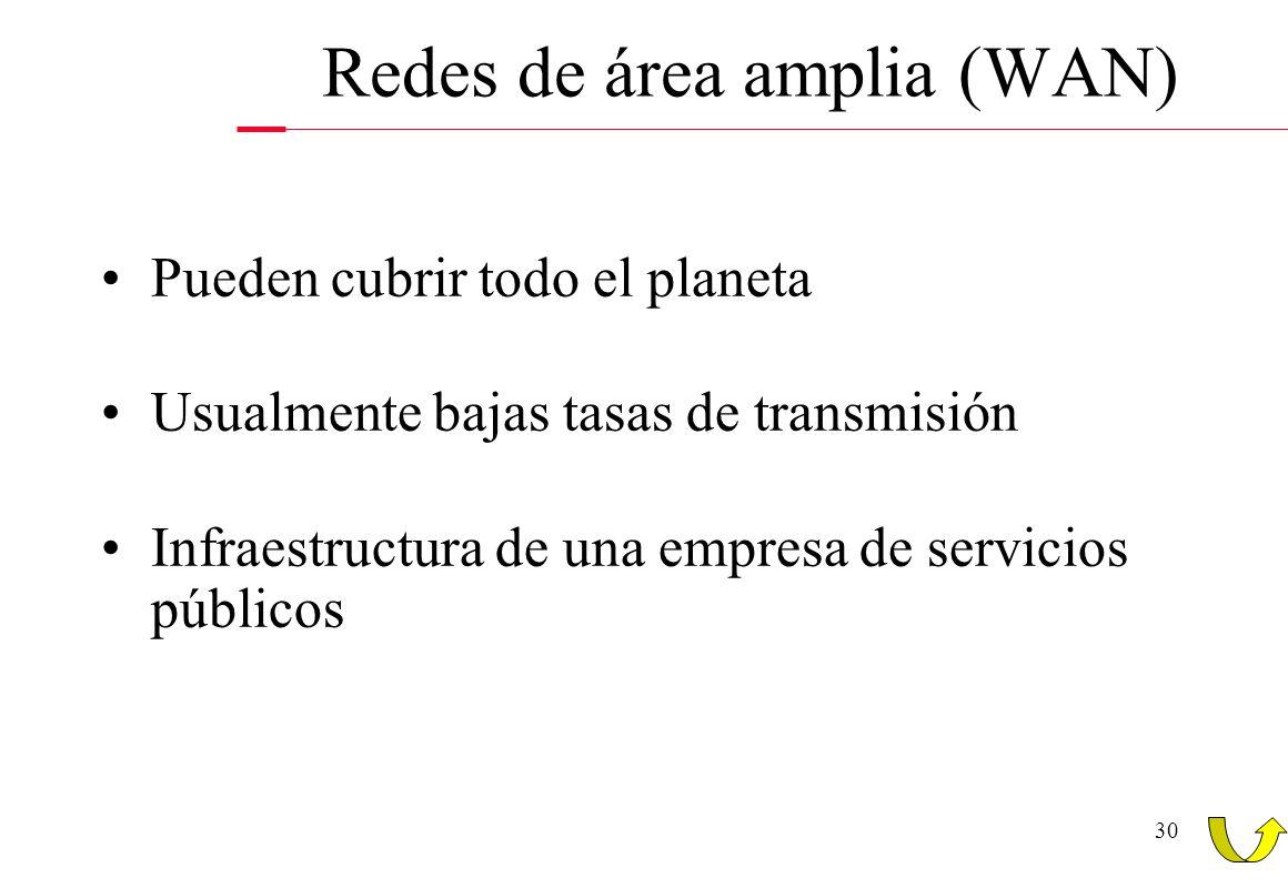 30 Pueden cubrir todo el planeta Usualmente bajas tasas de transmisión Infraestructura de una empresa de servicios públicos Redes de área amplia (WAN)