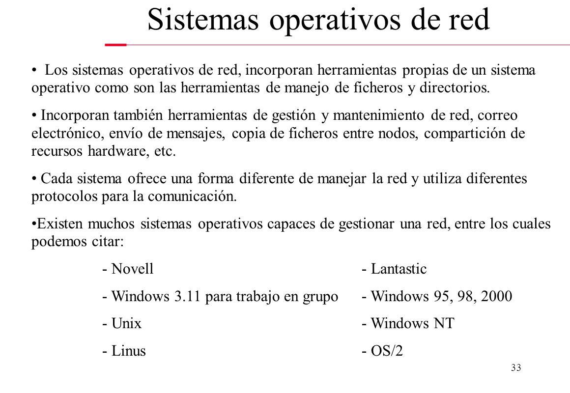 33 Sistemas operativos de red Los sistemas operativos de red, incorporan herramientas propias de un sistema operativo como son las herramientas de man