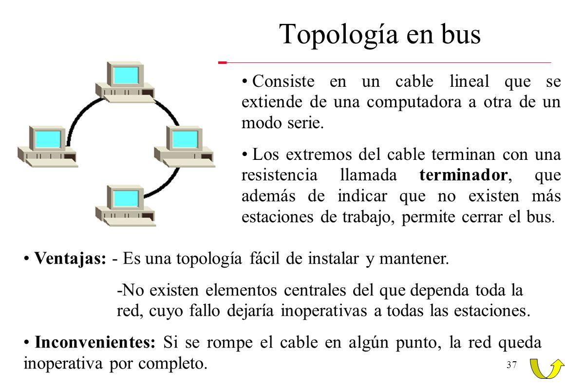 37 Topología en bus Consiste en un cable lineal que se extiende de una computadora a otra de un modo serie. Los extremos del cable terminan con una re