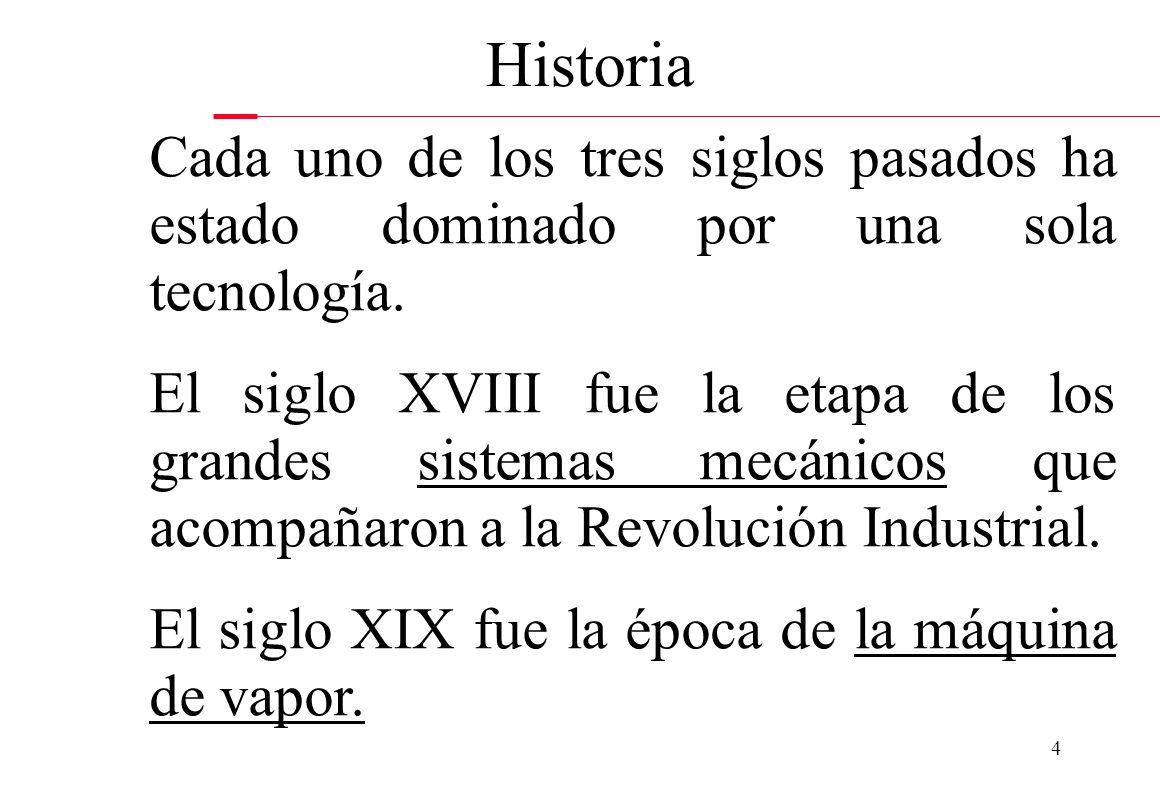 4 Historia Cada uno de los tres siglos pasados ha estado dominado por una sola tecnología. El siglo XVIII fue la etapa de los grandes sistemas mecánic