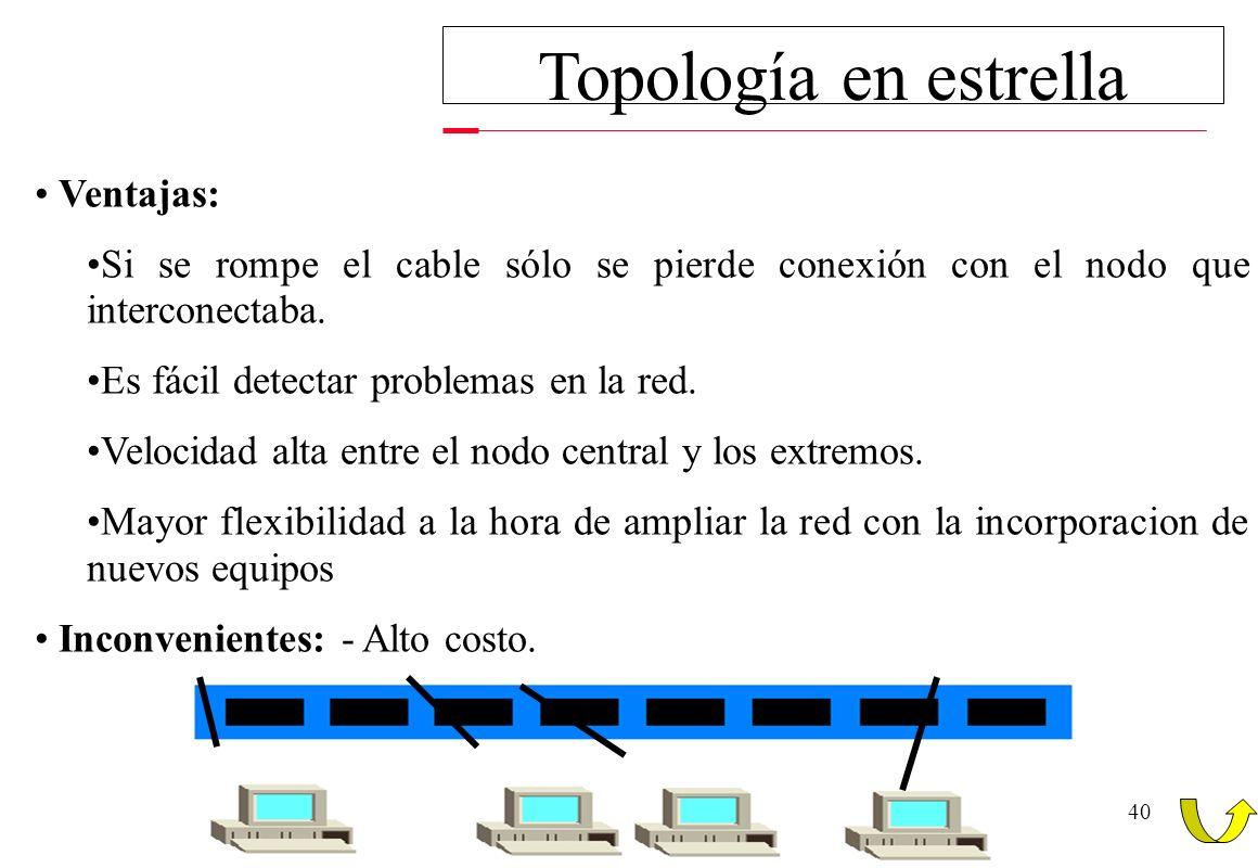 40 Topología en estrella Ventajas: Si se rompe el cable sólo se pierde conexión con el nodo que interconectaba. Es fácil detectar problemas en la red.