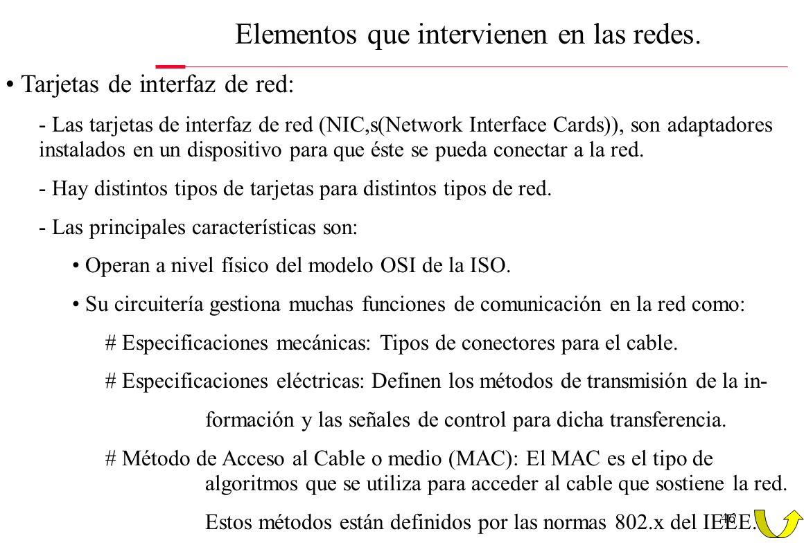 46 Elementos que intervienen en las redes. Tarjetas de interfaz de red: - Las tarjetas de interfaz de red (NIC,s(Network Interface Cards)), son adapta
