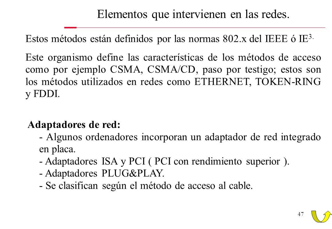 47 Elementos que intervienen en las redes. Estos métodos están definidos por las normas 802.x del IEEE ó IE 3. Este organismo define las característic