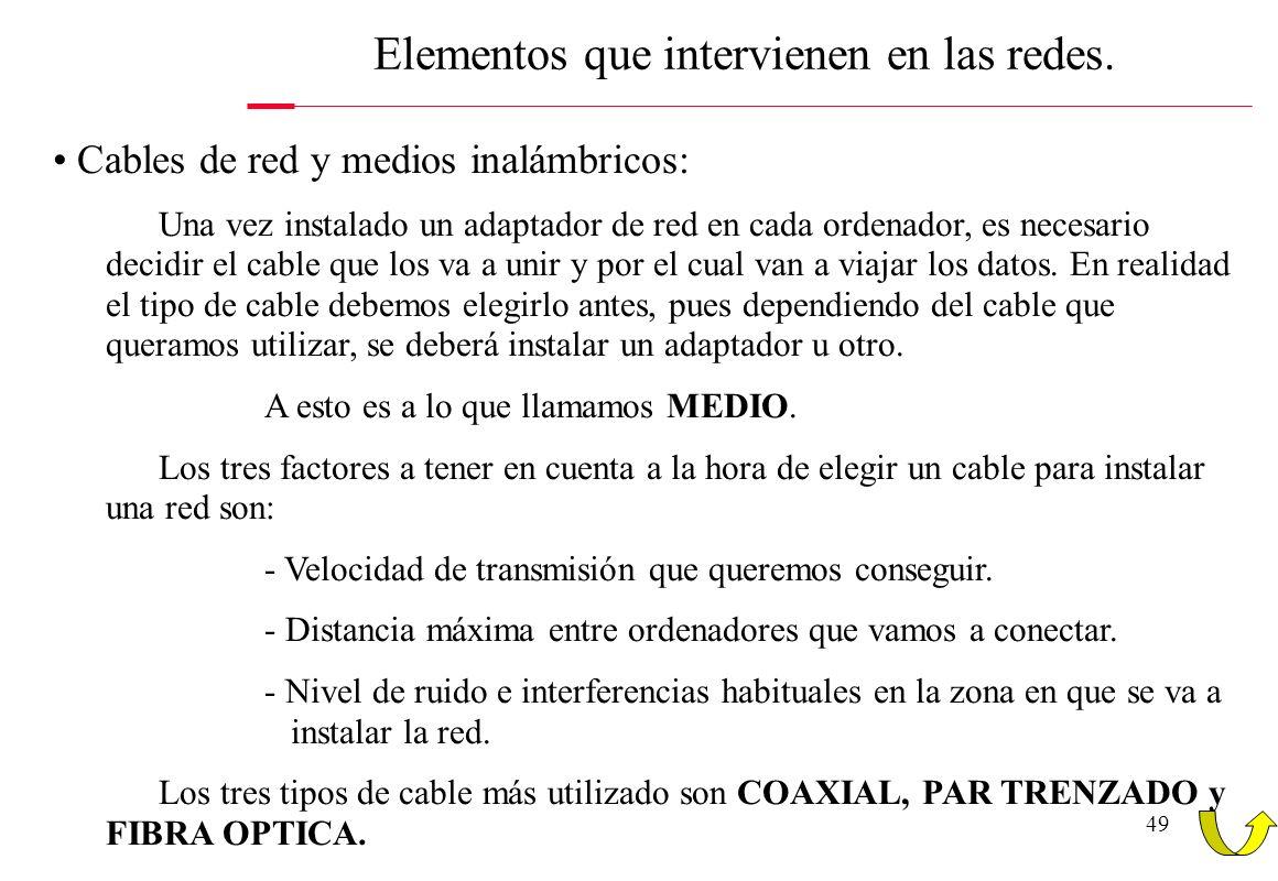 49 Elementos que intervienen en las redes. Cables de red y medios inalámbricos: Una vez instalado un adaptador de red en cada ordenador, es necesario