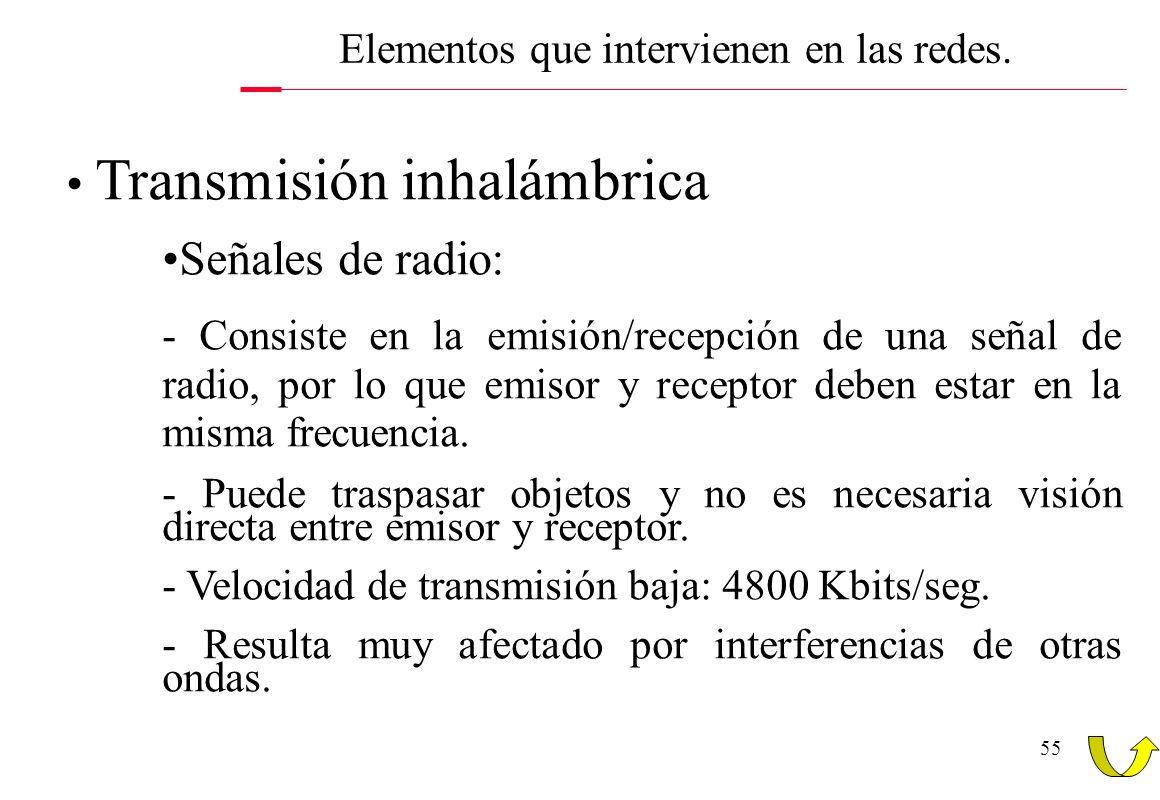 55 Transmisión inhalámbrica Señales de radio: - Consiste en la emisión/recepción de una señal de radio, por lo que emisor y receptor deben estar en la
