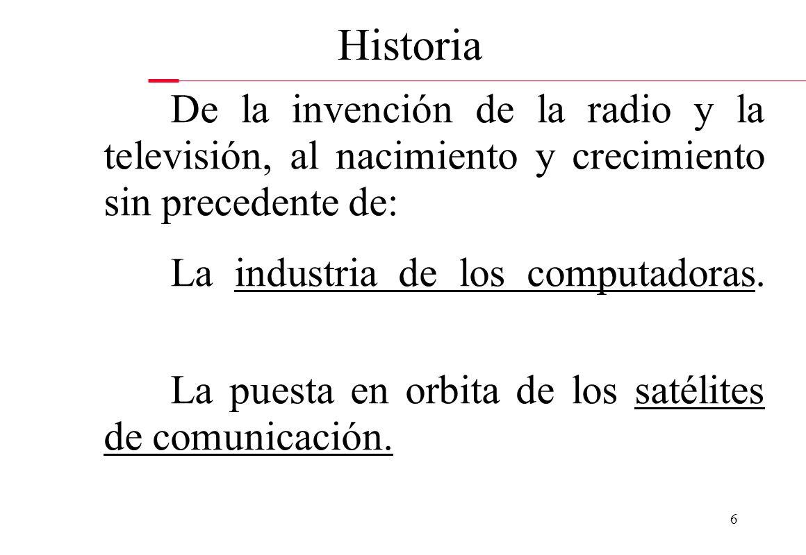 6 Historia De la invención de la radio y la televisión, al nacimiento y crecimiento sin precedente de: La industria de los computadoras. La puesta en