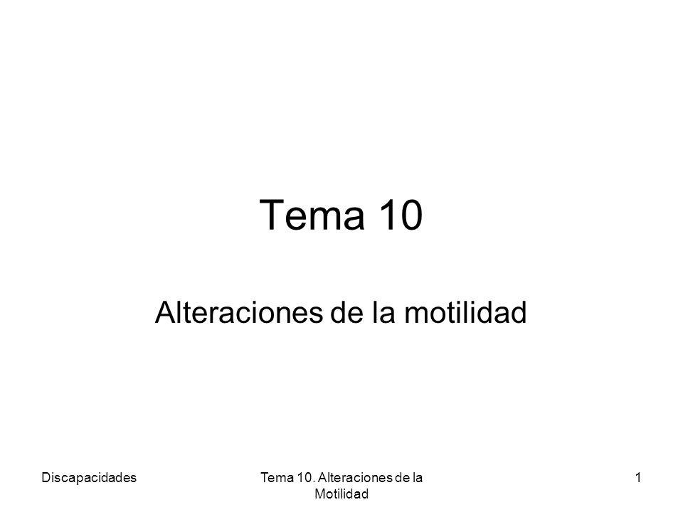 DiscapacidadesTema 10. Alteraciones de la Motilidad 1 Tema 10 Alteraciones de la motilidad