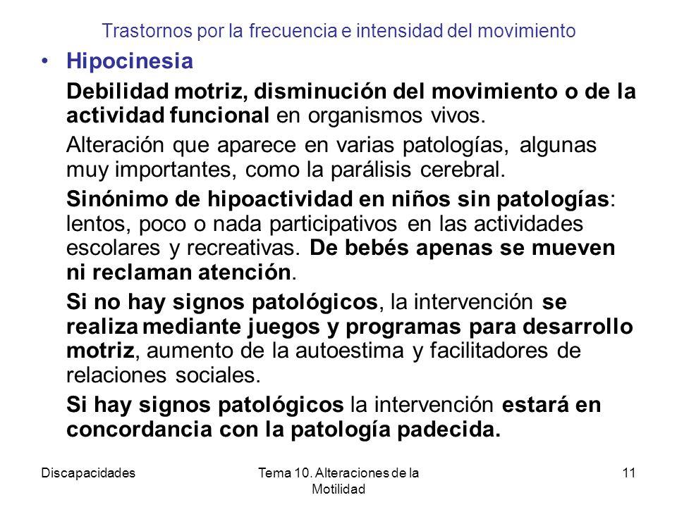 DiscapacidadesTema 10. Alteraciones de la Motilidad 11 Trastornos por la frecuencia e intensidad del movimiento Hipocinesia Debilidad motriz, disminuc