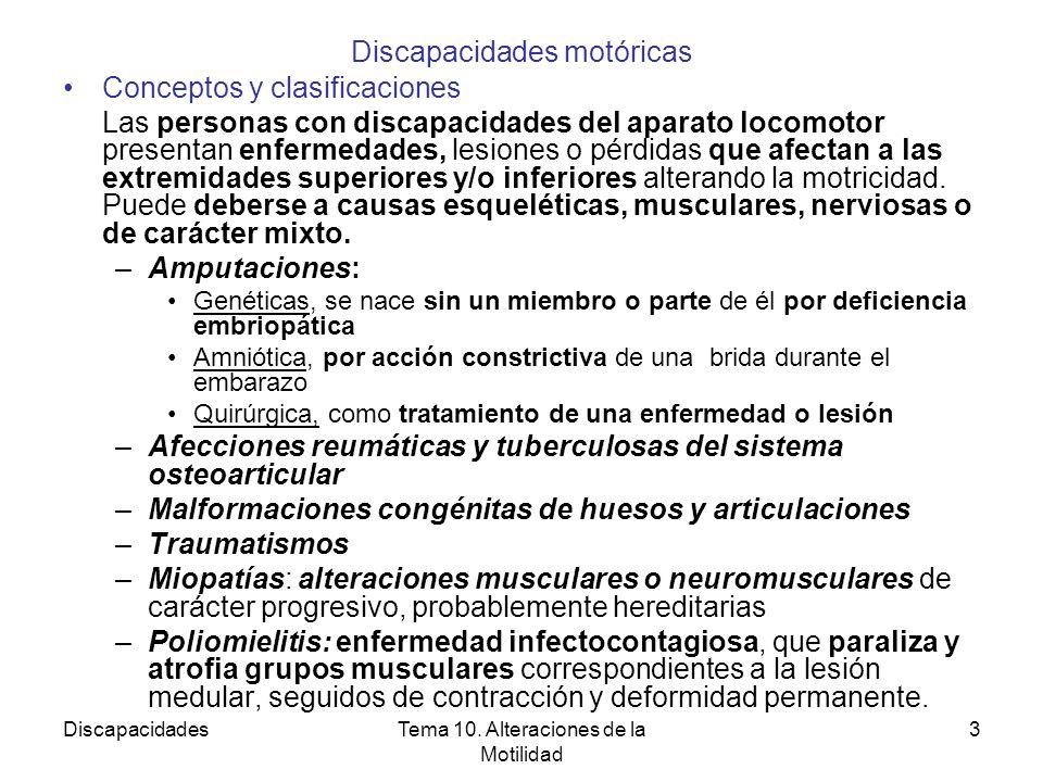 DiscapacidadesTema 10. Alteraciones de la Motilidad 3 Discapacidades motóricas Conceptos y clasificaciones Las personas con discapacidades del aparato