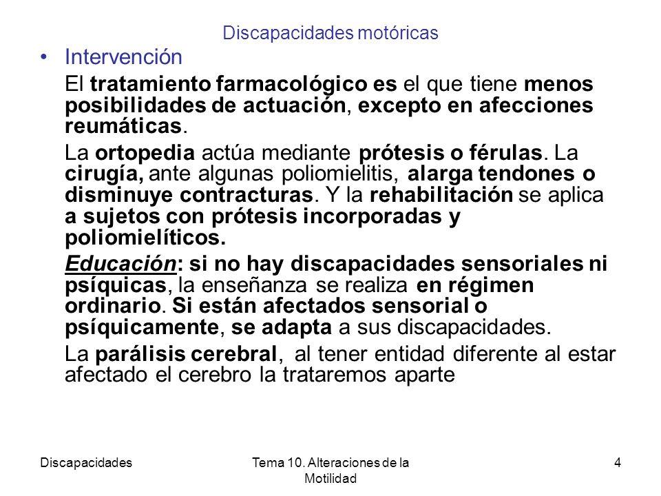 DiscapacidadesTema 10. Alteraciones de la Motilidad 4 Discapacidades motóricas Intervención El tratamiento farmacológico es el que tiene menos posibil