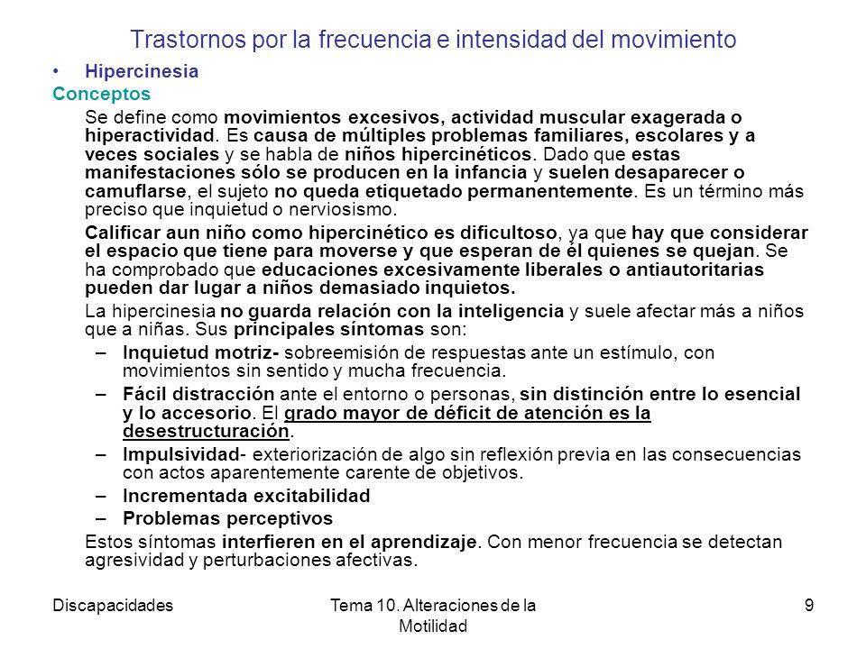 DiscapacidadesTema 10. Alteraciones de la Motilidad 9 Trastornos por la frecuencia e intensidad del movimiento Hipercinesia Conceptos Se define como m