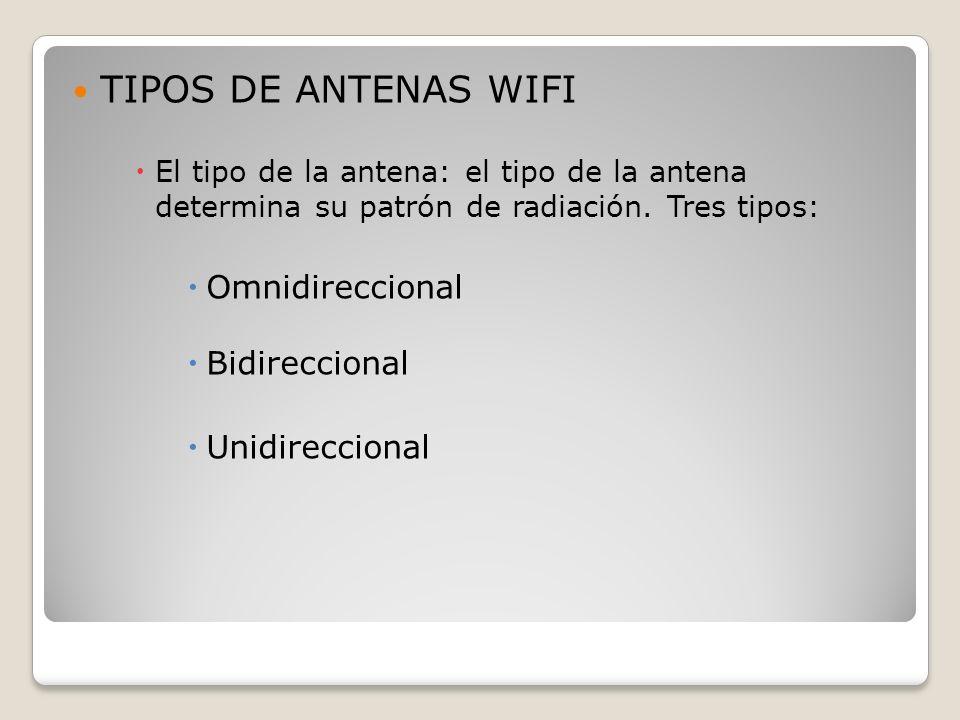 TIPOS DE ANTENAS WIFI El tipo de la antena: el tipo de la antena determina su patrón de radiación. Tres tipos: Omnidireccional Bidireccional Unidirecc