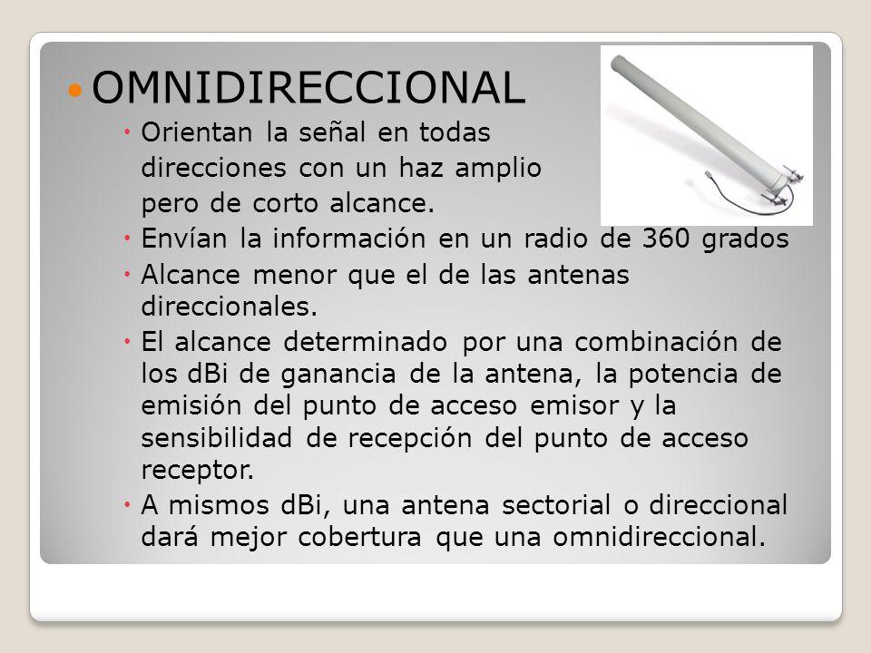 OMNIDIRECCIONAL Orientan la señal en todas direcciones con un haz amplio pero de corto alcance. Envían la información en un radio de 360 grados Alcanc