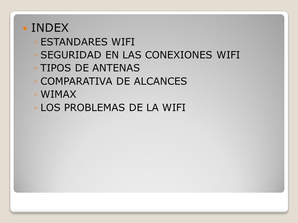 INDEX ESTANDARES WIFI SEGURIDAD EN LAS CONEXIONES WIFI TIPOS DE ANTENAS COMPARATIVA DE ALCANCES WIMAX LOS PROBLEMAS DE LA WIFI
