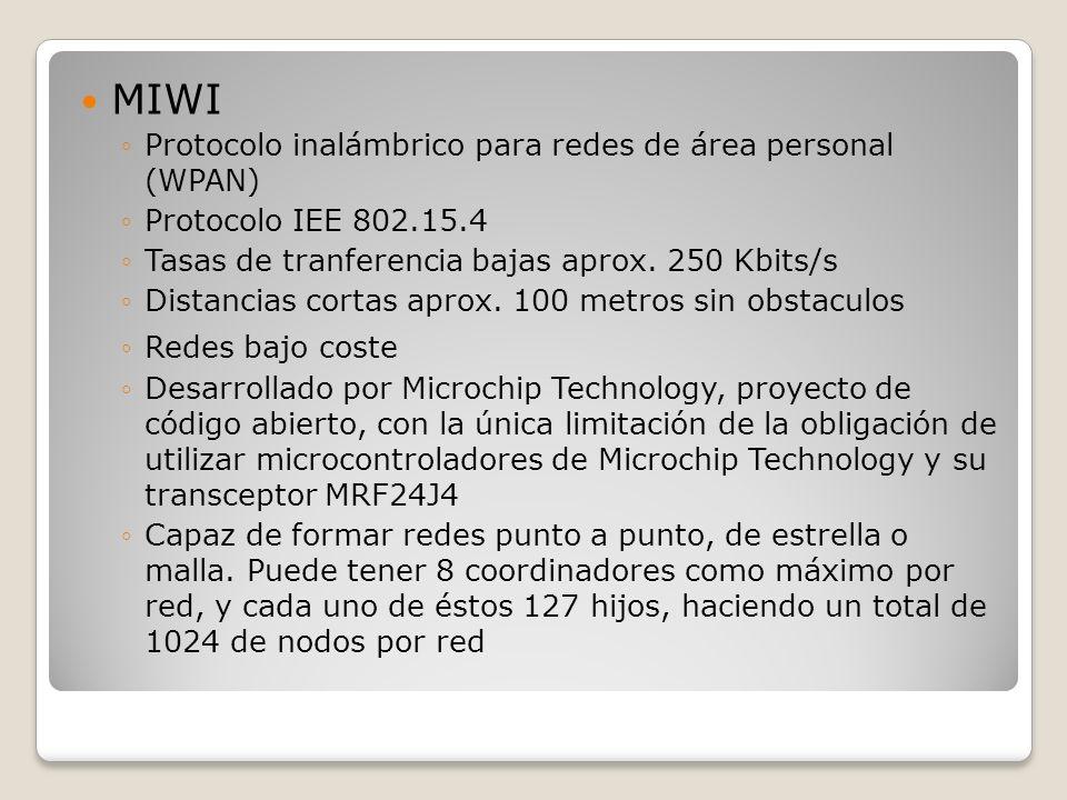 MIWI Protocolo inalámbrico para redes de área personal (WPAN) Protocolo IEE 802.15.4 Tasas de tranferencia bajas aprox. 250 Kbits/s Distancias cortas