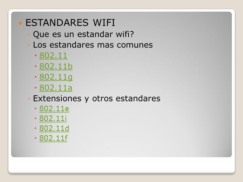 ESTANDARES WIFI Que es un estandar wifi? Los estandares mas comunes 802.11 802.11b 802.11g 802.11a Extensiones y otros estandares 802.11e 802.11i 802.