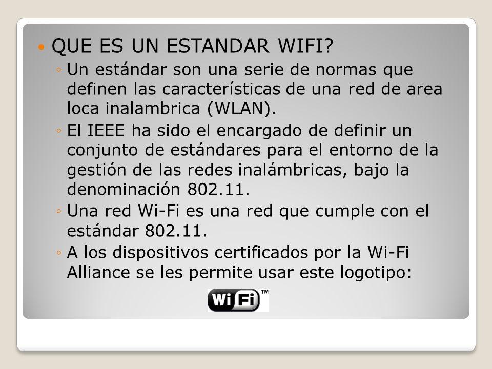 QUE ES UN ESTANDAR WIFI? Un estándar son una serie de normas que definen las características de una red de area loca inalambrica (WLAN). El IEEE ha si