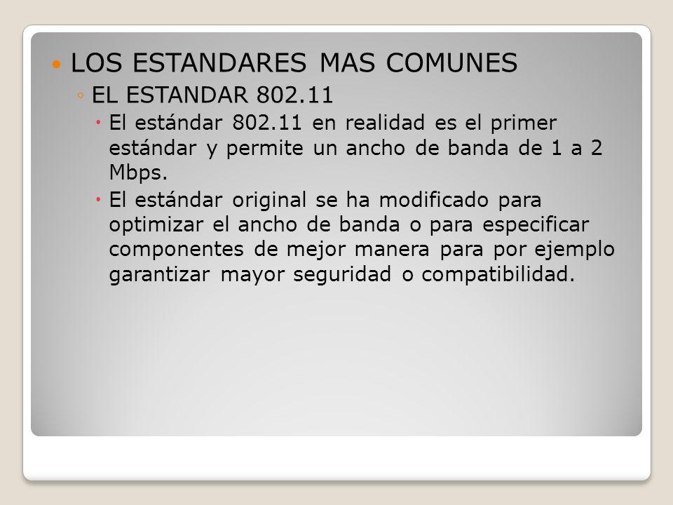 LOS ESTANDARES MAS COMUNES EL ESTANDAR 802.11 El estándar 802.11 en realidad es el primer estándar y permite un ancho de banda de 1 a 2 Mbps. El están