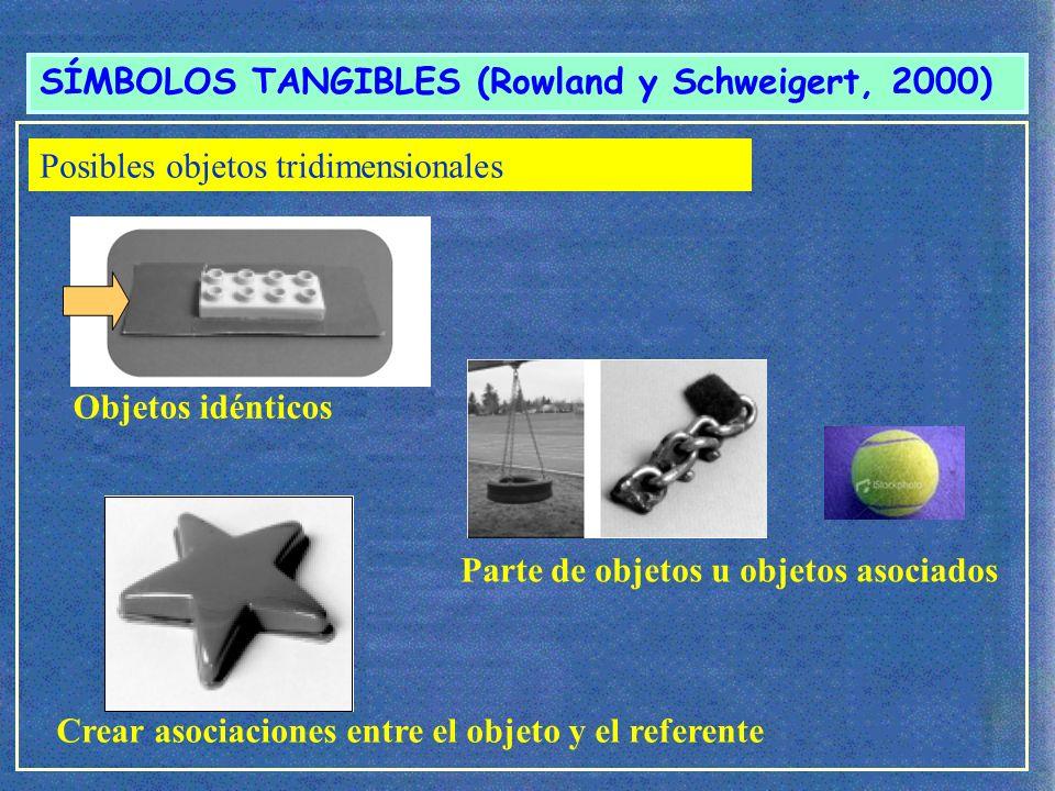 SÍMBOLOS TANGIBLES (Rowland y Schweigert, 2000) Posibilidades Objetos que compartan rasgos
