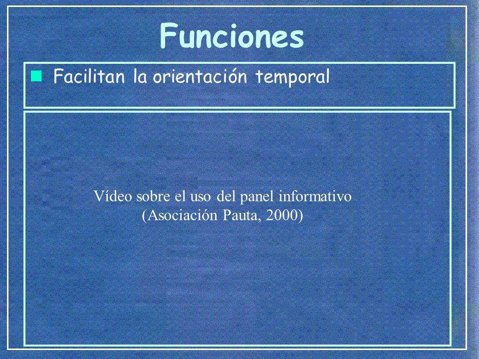 Funciones Vídeo sobre el uso del panel informativo (Asociación Pauta, 2000)