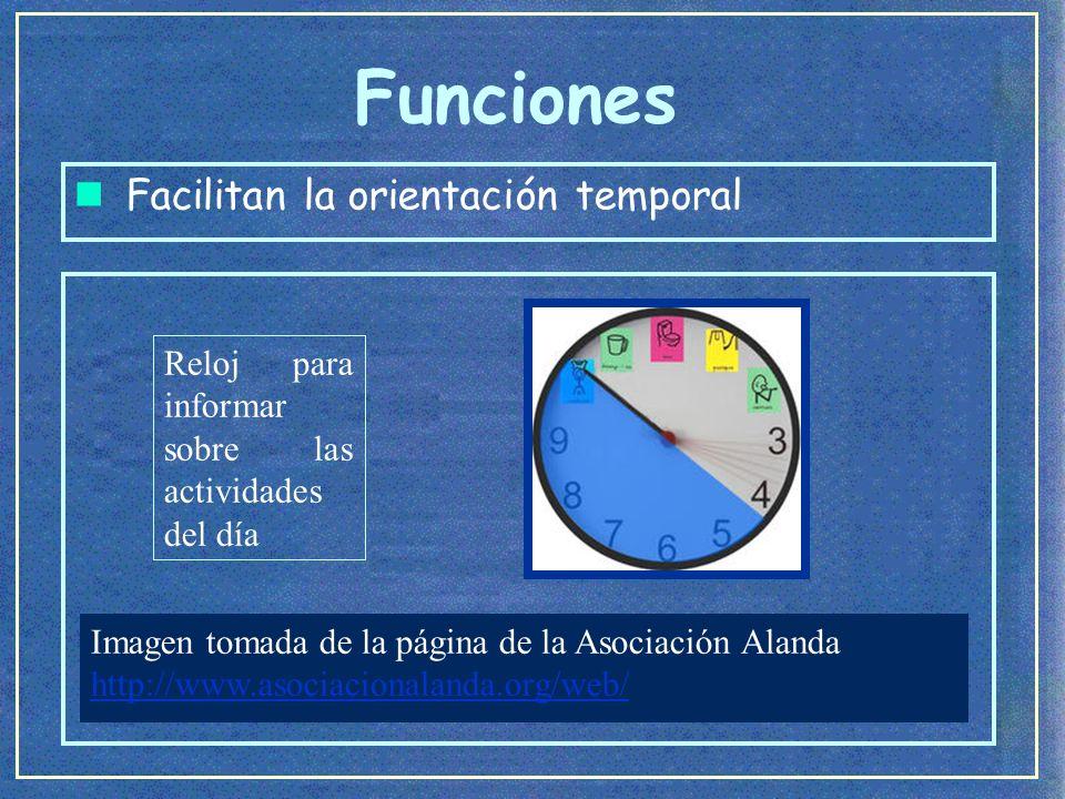 Funciones n Facilitan la orientación temporal Información sobre las actividades de la semana Imagen tomada del Cd de la Asociación Pauta (2000).