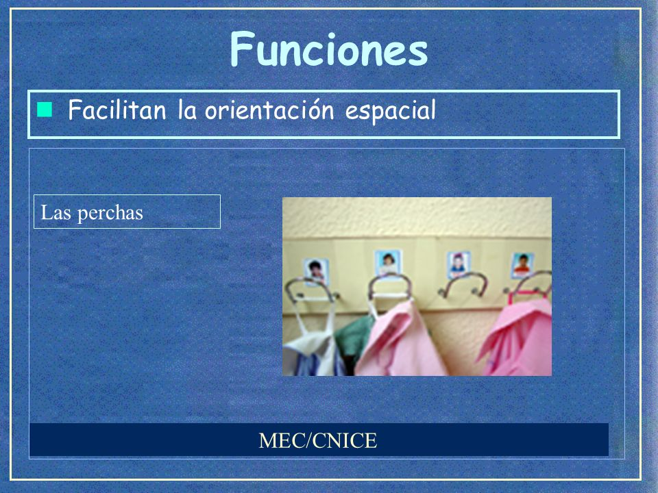 Funciones n Facilitan la orientación espacial (Alonso, Batista, Cruz y Santa Ana, 2005) Ayudan a recordar el lugar el sitio