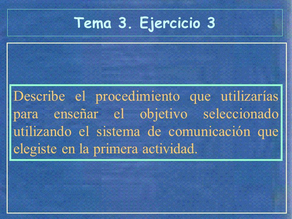 Describe el procedimiento que utilizarías para enseñar el objetivo seleccionado utilizando el sistema de comunicación que elegiste en la primera actividad.